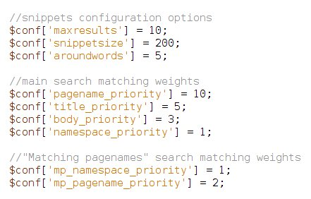DokuWiki Searching priorities configuration