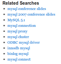 Relates sphinx searches widget