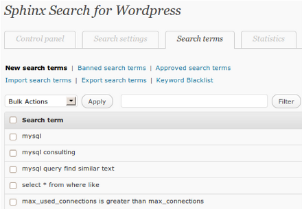 Wordpress Search Management Tools