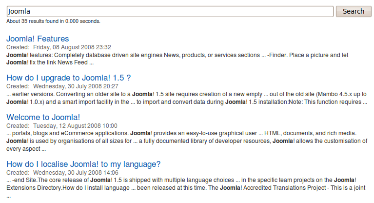 Joomla Sphinx Search component in action